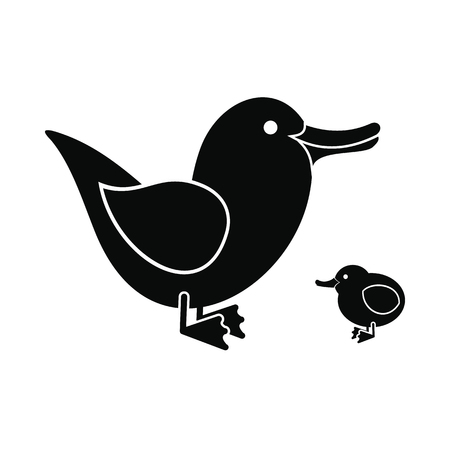 duckie: Ducklings black icon isolated on white background Illustration