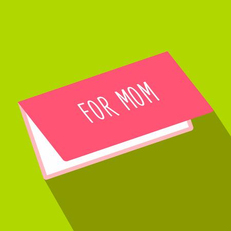 agradecimiento: Tarjeta de felicitaci�n para la mam� icono de plano sobre un fondo verde