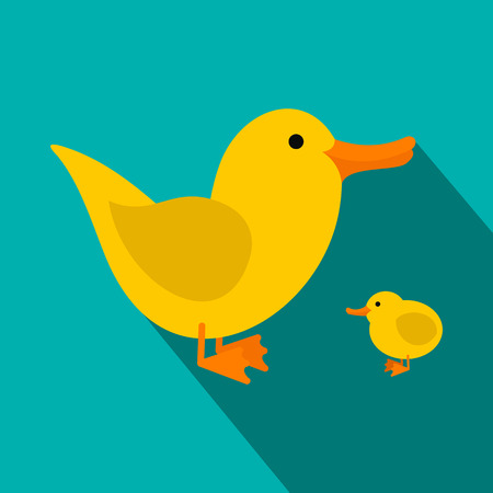 webbed: Yellow ducklings flat icon on a blue background