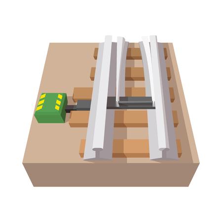 Railroad switch cartoon icon on a white background Illustration