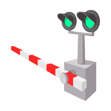 railroad crossing: Railroad crossing sign cartoon icon on a white background Illustration