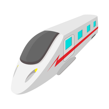 high speed: Modern high speed passenger commuter train cartoon icon on a white background