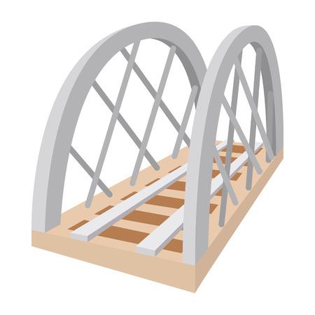 viaduct: Metal railway bridge cartoon icon on a white background Illustration