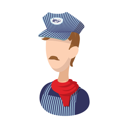 conductor: Train conductor cartoon icon on a white background