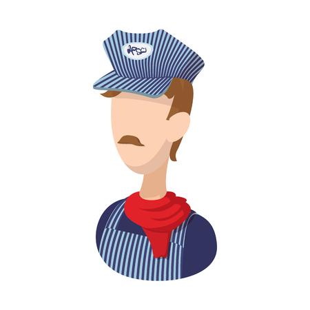 Train conductor cartoon icon on a white background Ilustração Vetorial