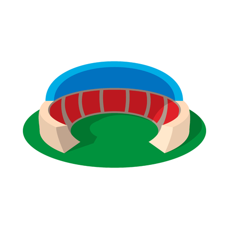 Sports stadium with canopy cartoon icon on a white background