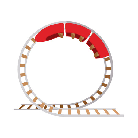roller coaster: Roller coaster cartoon icon on a white background