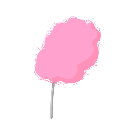 spun sugar: Pink candy floss cartoon icon on a white background Illustration