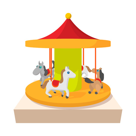 carousel horse: Carousel with horses cartoon icon on a white background