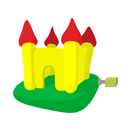 trampoline: Inflatable trampoline castle cartoon icon on a white background