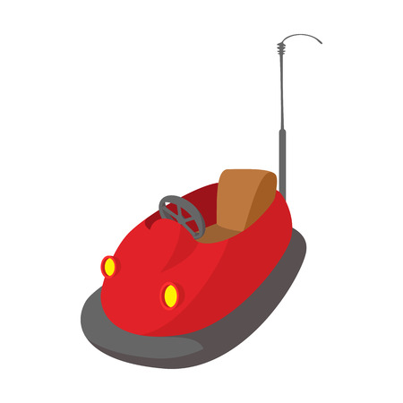 Bumper cars in amusement park cartoon icon on a white background 向量圖像