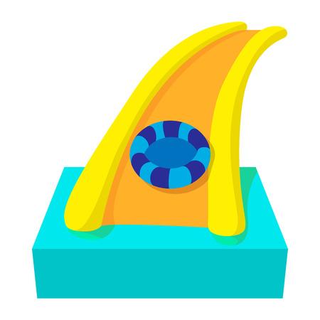water chute: Aquapark slide cartoon icon on a white background Illustration