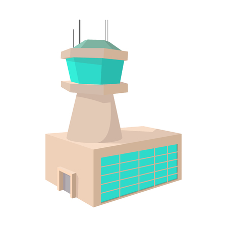 control tower: Airport control tower cartoon icon on a white background