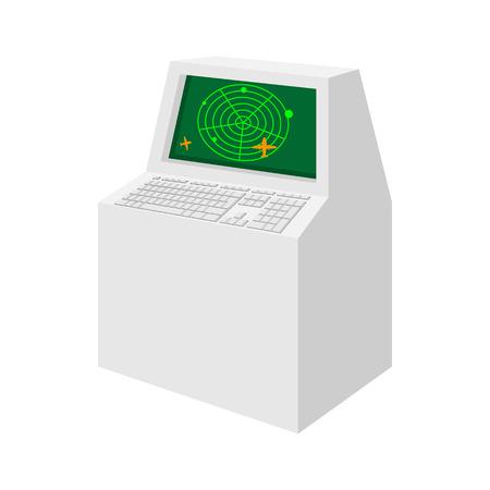 traffic control: Airport air traffic control radar cartoon icon on a white background Illustration