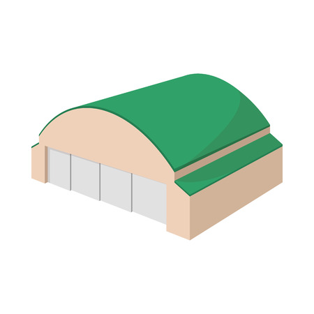 hangar: Hangar building cartoon icon on a white background