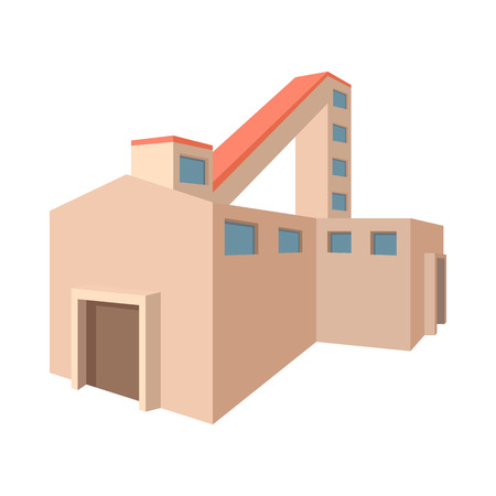 fossil fuel: Fossil fuel power station cartoon icon on a white background