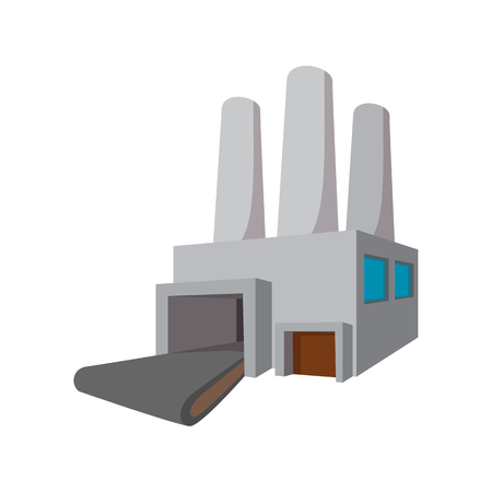 powerhouse: Fuel power station cartoon icon on a white background