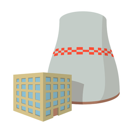 Fossil fuel power station cartoon icon on a white background