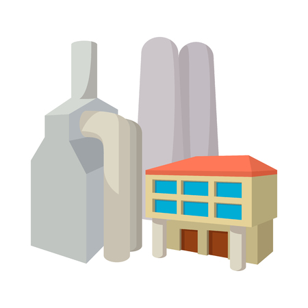 powerhouse: Fossil fuel power station cartoon icon on a white background