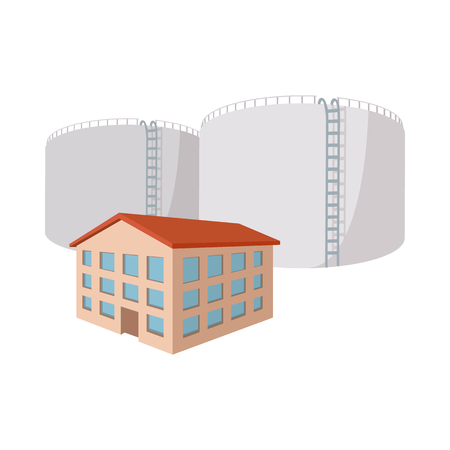 fuel storage: Fuel storage tank cartoon icon on a white background Illustration
