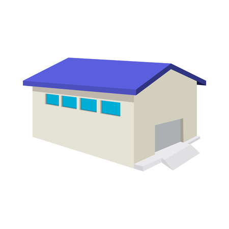 roller shutters: Industrial warehouse with roller door cartoon icon on a white background Illustration
