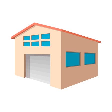 Entrepôt industriel avec l'icône de bande dessinée de porte de rouleau sur un fond blanc