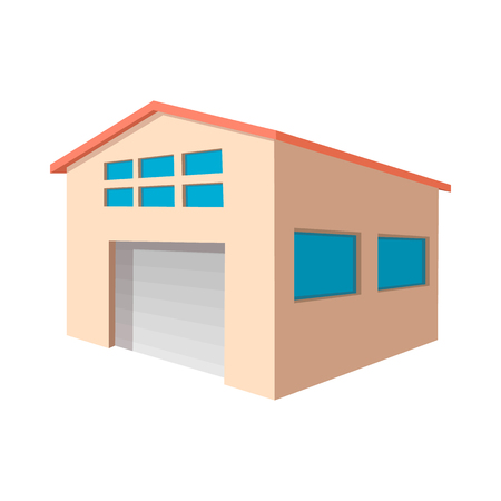 Industrial warehouse with roller door cartoon icon on a white background