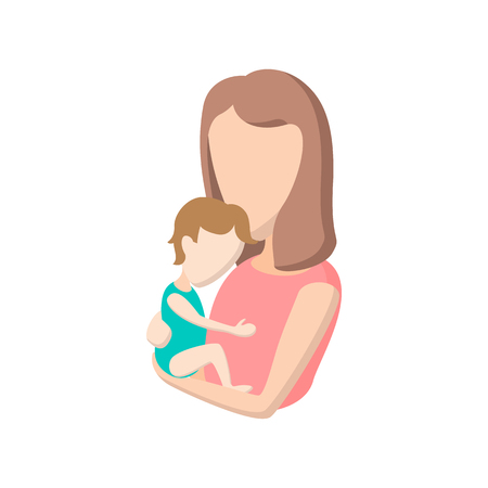 mother holding baby: Young mother holding her baby cartoon icon on a white background