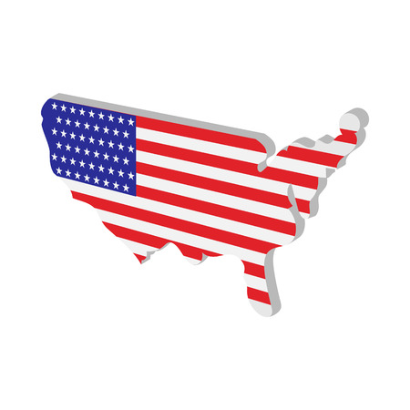 Usa Map With American Flag Texture Cartoon Icon On White Background Stock Vector 52476092