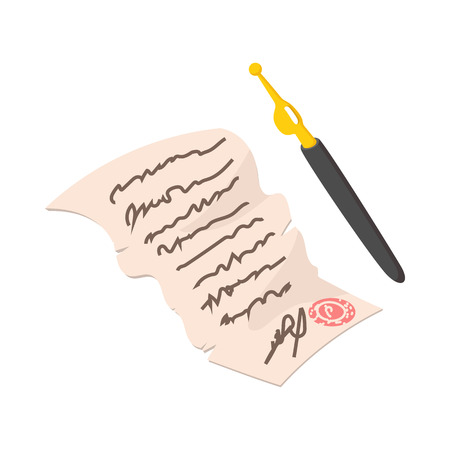 patriot act: Declaration of Independence cartoon icon on white background