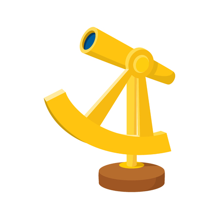 spyglass: An ancient spyglass icon in cartoon style on a white background