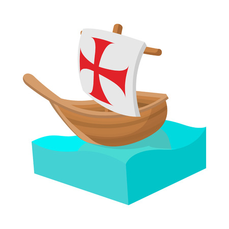 christopher columbus: Columbus ship icon in cartoon style on a white background