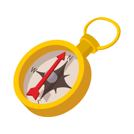 nautical equipment: Compass icon in cartoon style on a white background