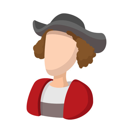 christopher columbus: Christopher Columbus costume icon in cartoon style on a white background Illustration