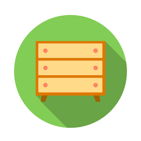 one bedroom: Wooden chest icon in flat style on a white background Illustration