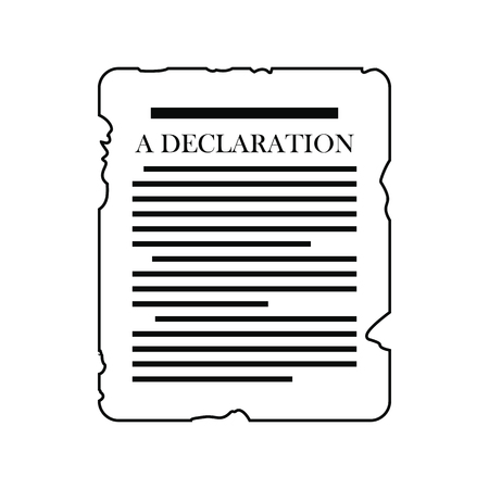 patriot act: Declaration icon. Black simple style on white background
