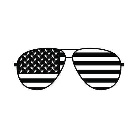 black american: American flag glasses icon. Black simple style