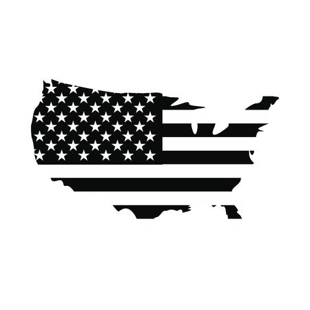 continente americano: EE.UU. icono indicador de la correspondencia. estilo sencillo negro