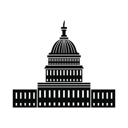 capitol hill: White House in Washington DC icon. Black simple style Illustration
