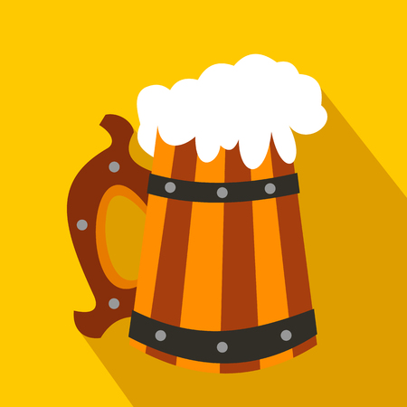 fresh brewed: Wooden mug with beer flat icon on a yellow background Illustration