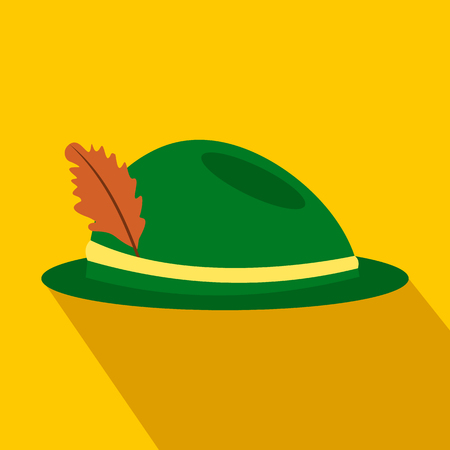 trachten: Green hat with a feather flat icon on a yellow background