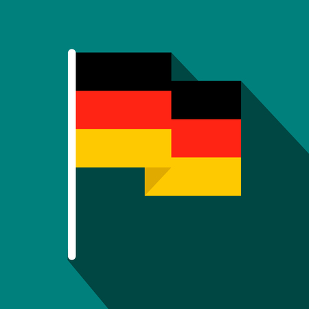 Germany flag flat icon on a blue background