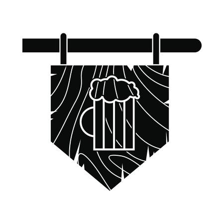 stout: Street signboard of pub icon. Black simple style Illustration