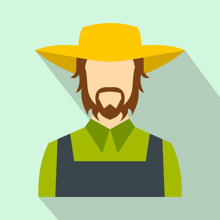 agrarian: Farmer flat icon on a light blue background Illustration