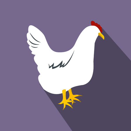 hen  farm: White hen flat icon on a violet background