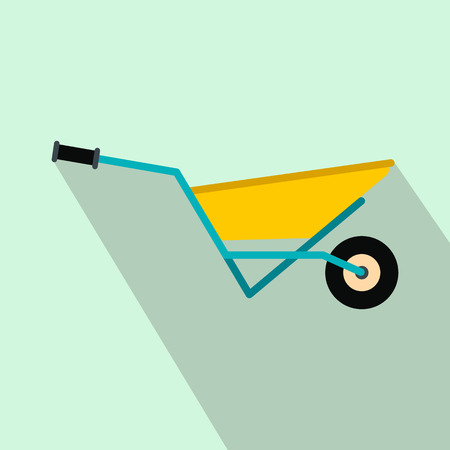 humus: A wheelbarrow full of turf flat icon on a light blue background