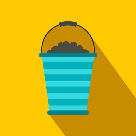 turf: Bucket of turf flat icon on a yellow background Illustration