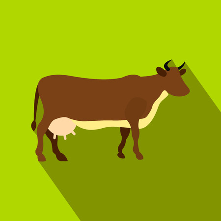 udder: Brown cow flat icon on a green background Illustration