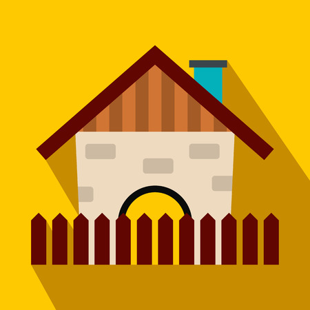 country house: Farm house flat icon on a yellow background Illustration