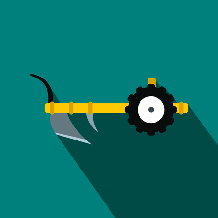cultivator: Plough flat icon on a blue background